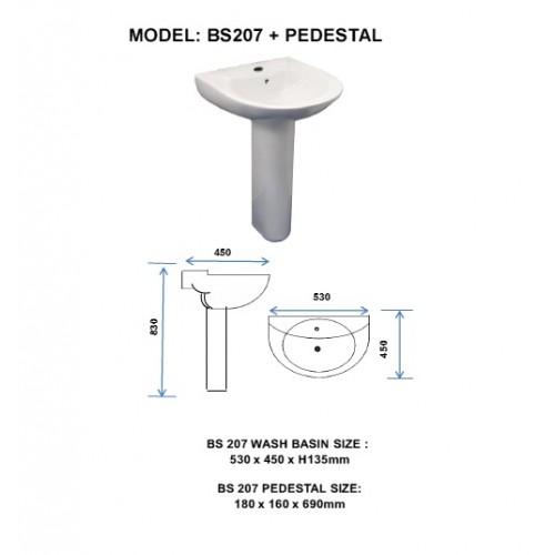 WALLHUNG WASH BASIN WITH PEDESTAL - BS207