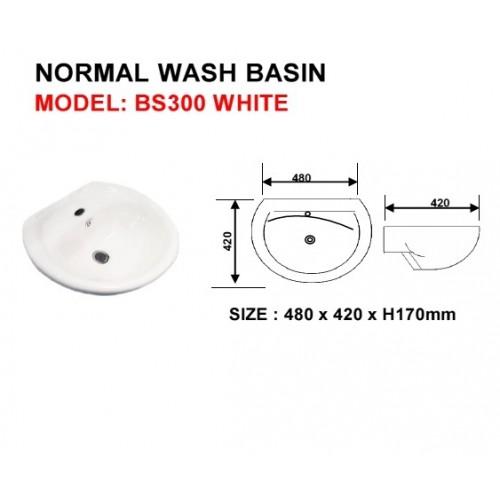 WALL HUNG WASHBASIN WITH BRACKET - BS300