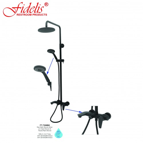 FT-7308BK RAIN SHOWER SET MATT BLACK