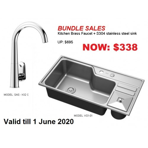 Bundle kitchen sink with brass faucet