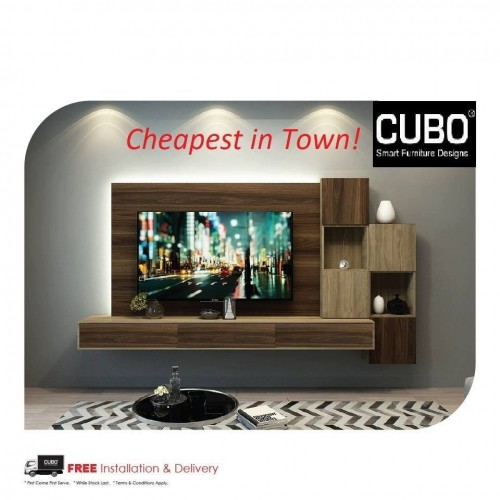 CUBO - HTCD 9 FT TV CONSOLE WITH 6 DECO 16 BOX